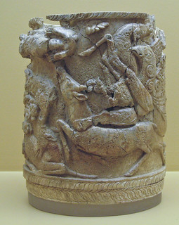 Ivory Pyxis with Griffons Attacking Stags | by Sharon Mollerus