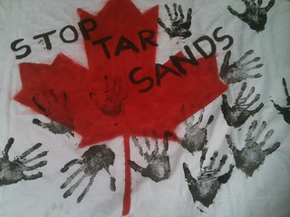Stop Tar Sands action 18th June 2011 - Flag with handprints 03 | by manchesterfoe