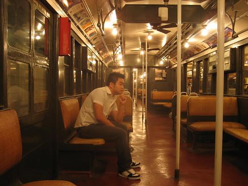 nytm oldest subway car interior me sitting inside the ol flickr. Black Bedroom Furniture Sets. Home Design Ideas