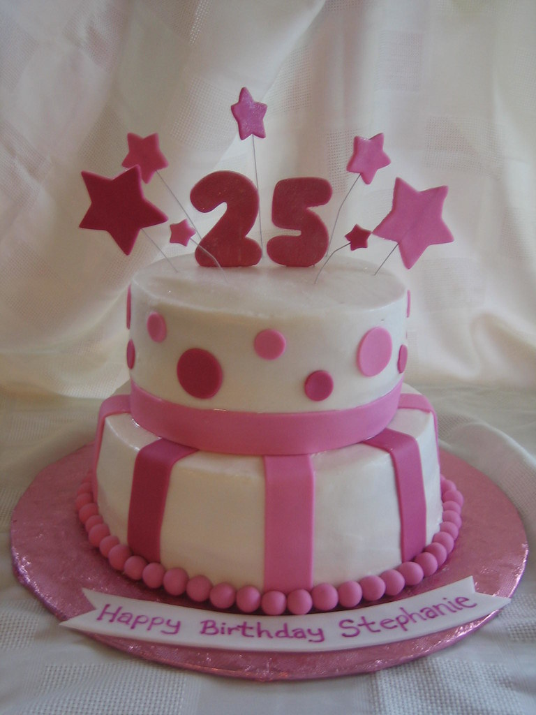 25th Birthday Cake 25th Birthday Cake With Fondant Stars Flickr
