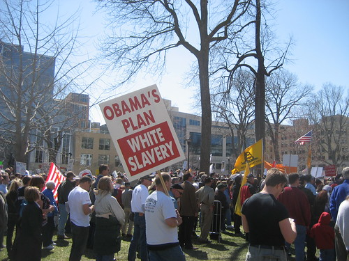 "Signs of Madison's Tea Party: ""Obama's Plan White Slavery"" 