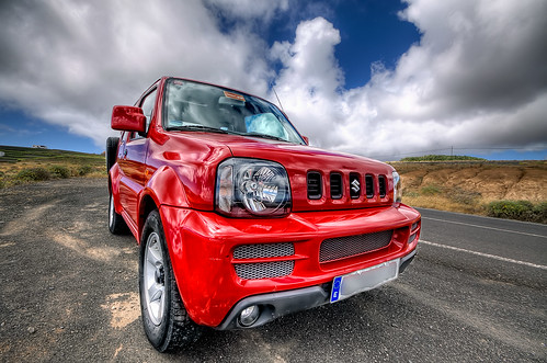 small in red suzuki jimny hdr lanzarote peque o en rojo flickr. Black Bedroom Furniture Sets. Home Design Ideas