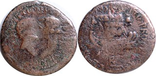 RPC 1469 M. Oppius Capito Mark Antony Fleet Bronze light Dupondius, facing heads Antony and Octavia, Two ships under sail, Achaea Athens 36-35BC, #0880-92 9g22 | by Ahala