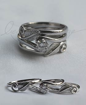 leaves handmade wedding ring with engagement ring - Handmade Wedding Rings
