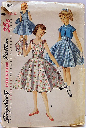 Simplicity 1184 Vintage 50 S Sewing Pattern Girls One Piec