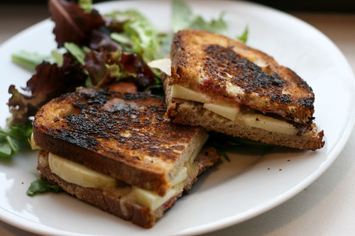 Cheddar and apple grilled cheese with raspberry coulis | by shivery