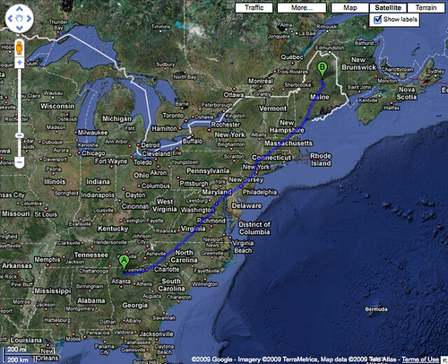 Google Maps GA to ME | Google\'s walking directions to Mt Kat ...