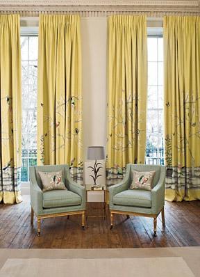Elegant Living Room High Ceiling Yellow Asian Birds Fab