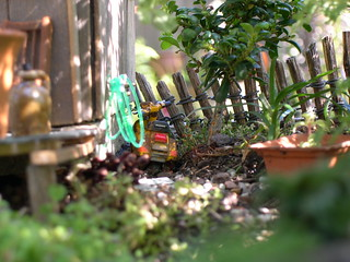 Vespa parked around back. | by Janit of Two Green Thumbs Miniature Garden Center