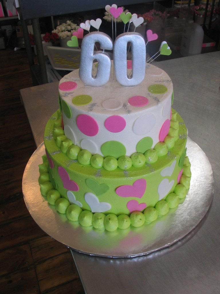 2 Tier 60th Birthday Cake Lime Green White Butter Icing Polka Dots Hearts