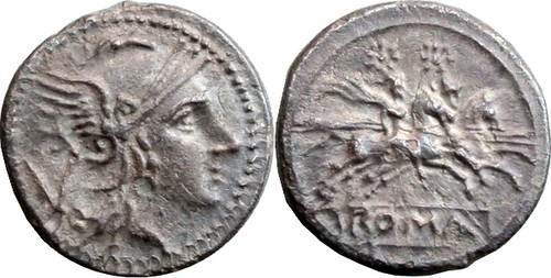 45/2  #9937-20 Anonymous Roma Dioscuri V Quinarius, 16mm, 1g97 | by Ahala