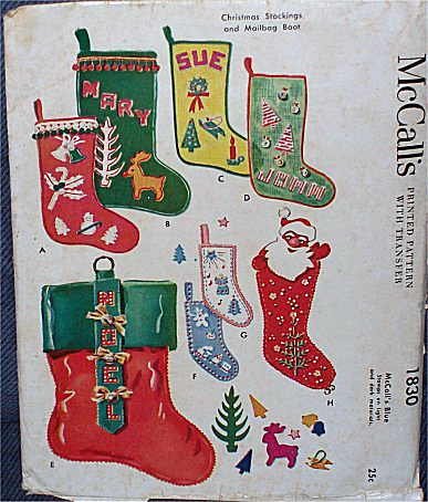 vintage christmas stocking pattern by deucecities henhouse - Vintage Christmas Stockings