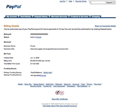 Billing Agreement Details Paypal Paypal Com Chris Messina Flickr