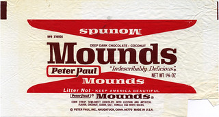 Peter Paul - Mounds 1 5/8 oz candy bar wrapper - 1970's | by JasonLiebig