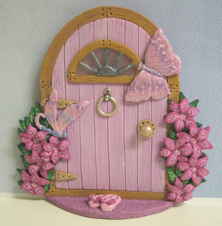 Pink fairy door with shoes handmade in polymer clay with How to make a fairy door out of clay