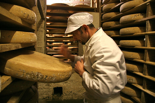 Tapping a Comte wheel with a cheese trier | by essexcheese