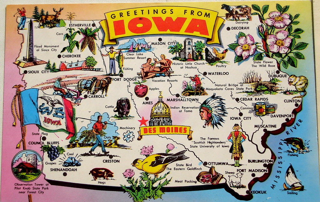 Greetings From Iowa Map Postcard Back Text Nickname Ha Flickr - Iowa map of usa