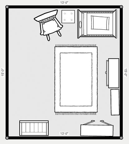 Nursery layout our probable nursery layout that big open flickr - Cots for small spaces plan ...