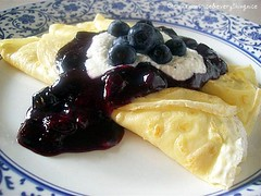 Crespelle w/ Ricotta & Blueberry Sauce | by CinnamonKitchn