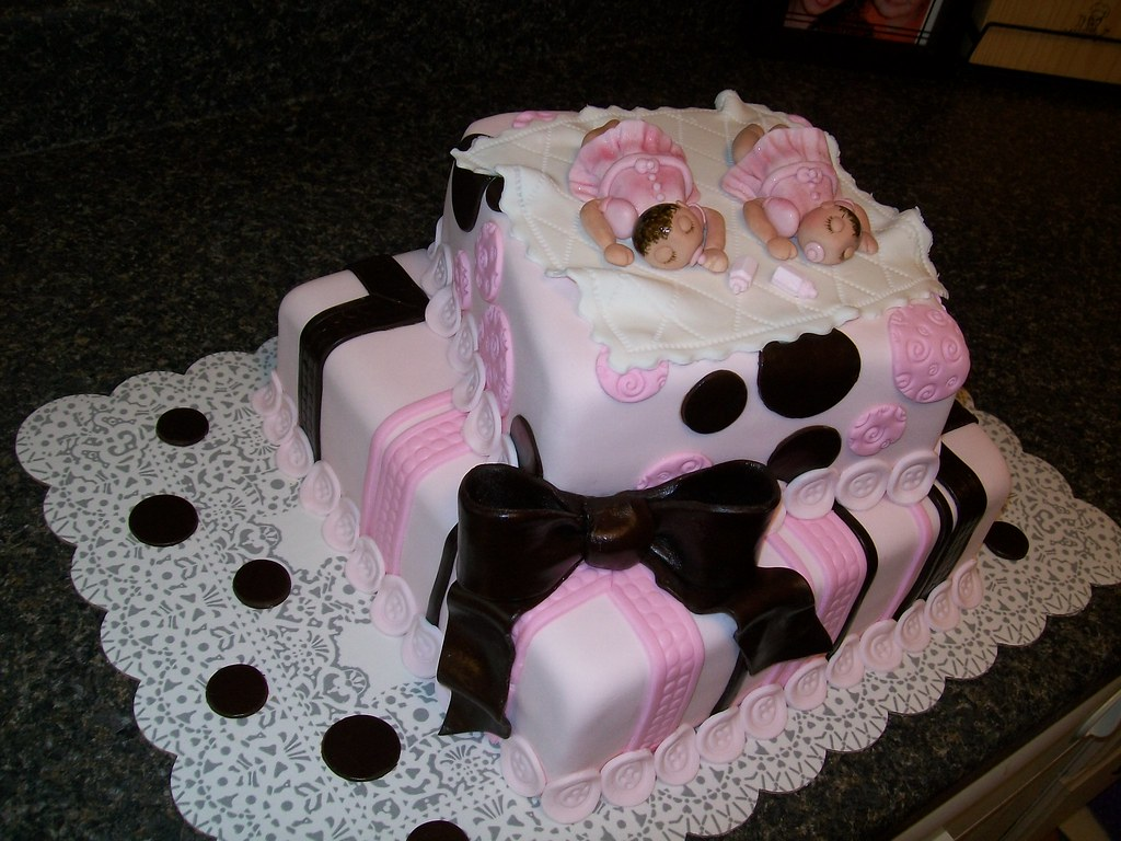 twin girls baby shower cake by mistys boopettie cakes