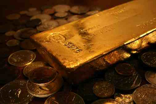 gold bar on coins