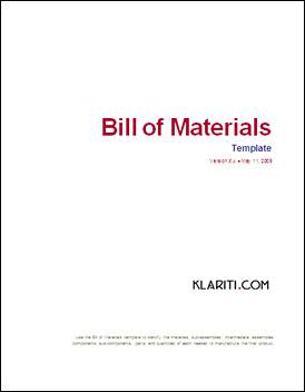bill of material template