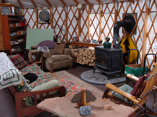 Cozy Yurt Living Room Notice The Heat Shield Behind The