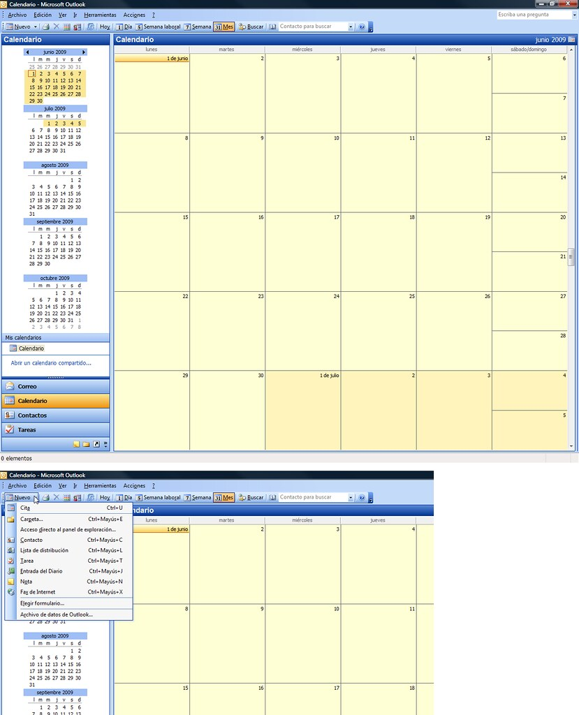 Calendario Outlook.Outlook Vista Calendario Opciones Barra De Herramienta