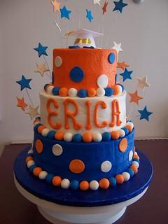 Cake Decorations Blue Stars : Orange and Blue Star Graduation Cake custom tiered cake ...