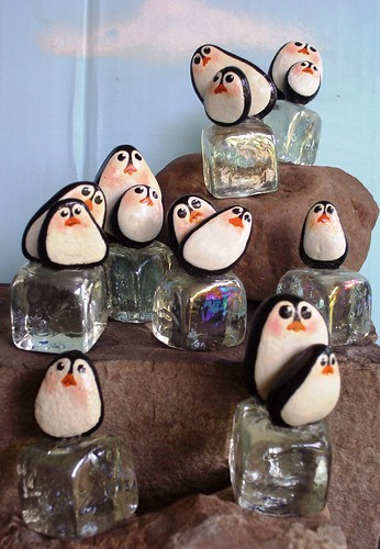 PENGUINS ON ICE Hand Painted Rocks | by WytcheHazel