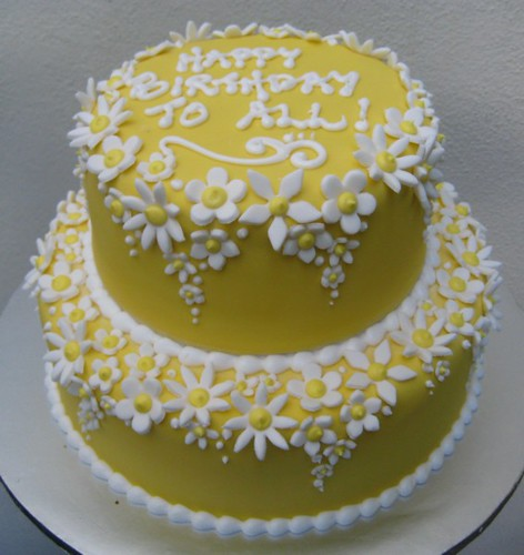 Yellow cake white blossoms a flowery 2 tier fondant iced flickr by artisan cakes by et yellow cake white blossoms by artisan cakes by et mightylinksfo