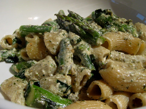 Rigatoni with asparagus, ramps, pesto, and ricotta | by Alexandra Moss