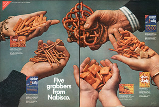 Nabisco Snack Double Page magazine advertisement - Doo Dads, Mister Salty, Cheese Tid-Bit, and Cheese Nips - 1968 | by JasonLiebig