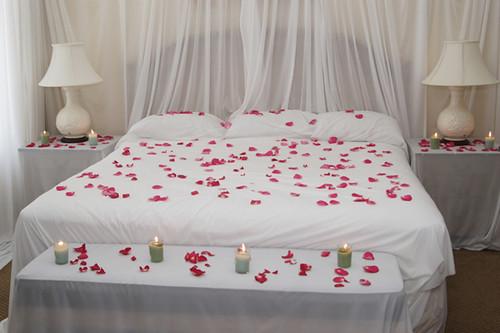 Romantic Bedroom Candles Rose Petals