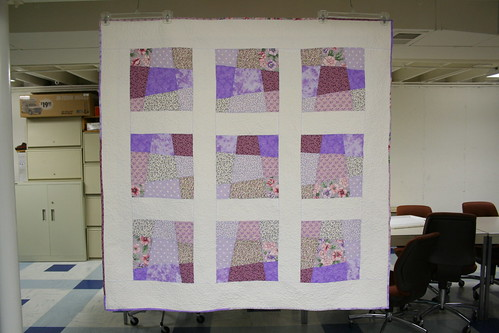 Violet Crazy Nine Patch Quilt Front | by Mle BB