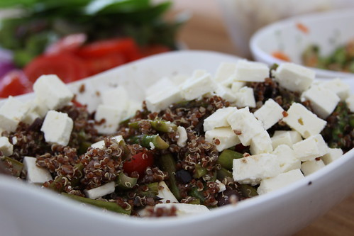 quinoa, roasted asparagus, tomatoes, olives & feta | by katinlee
