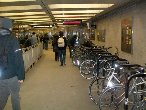 Interior bicycle racks, Logan Square station, blue line subway, Chicago