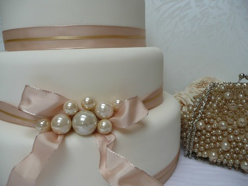 pearl ribbon for wedding cake pearl and ribbon wedding cake ivory wedding cake with 18167