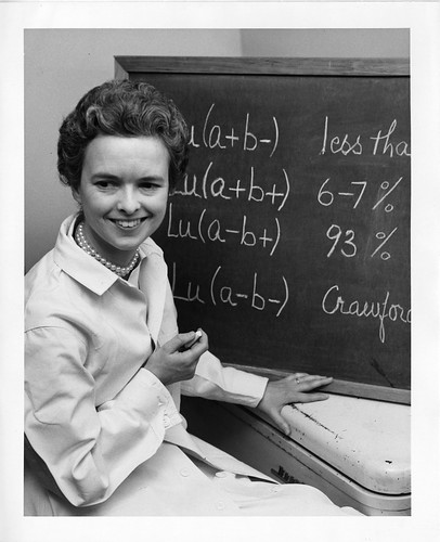 Mary N. Crawford, shown sitting next to blackboard | by Smithsonian Institution