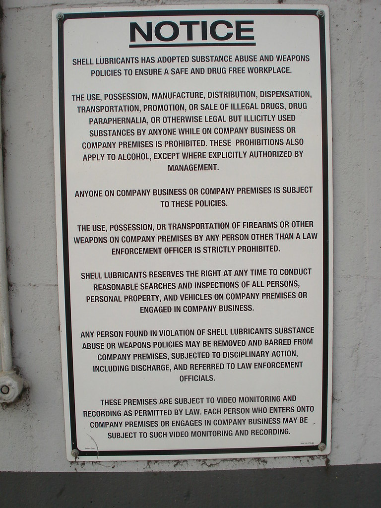 ... Shell Lubricants Substance Abuse & Firearms Policy - by anarchosyn