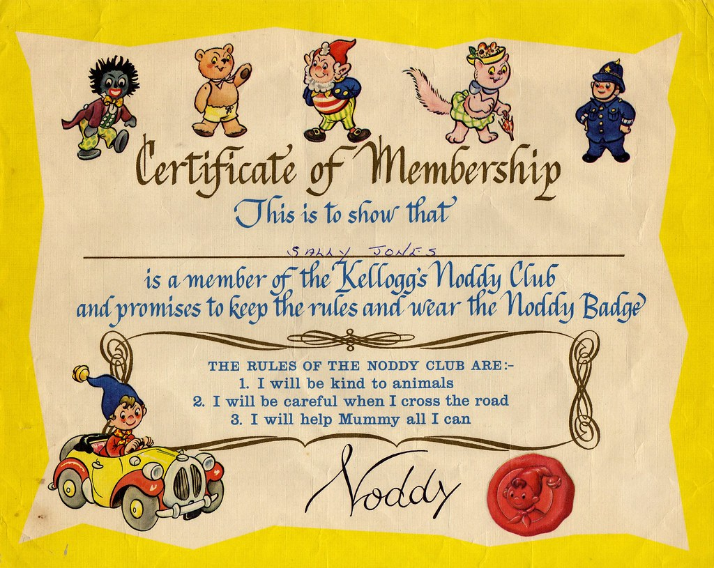 Noddy Club Certificate Posted To Me By Noddy 29th Novembe Flickr