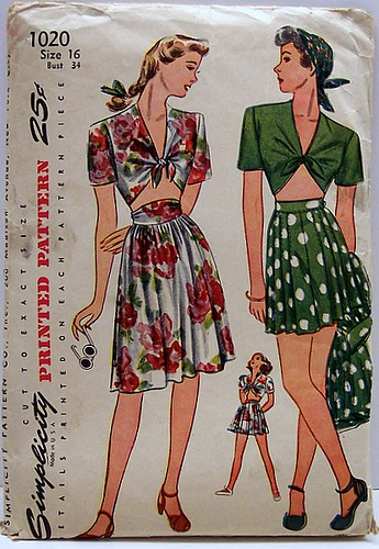 Simplicity 1020 Vintage 40's Sewing Pattern Swing Pinup Front Knotted Midriff Top, Shorts and Skirt | by Sassy By Design