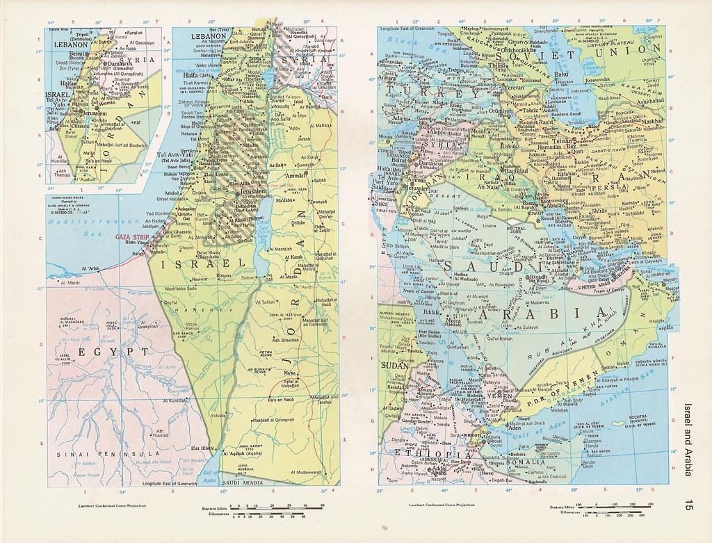 c1980s eurasia israel and arabia world atlas color map by walker street vintage