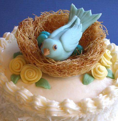 Cake With Fondant Bird : Mother s Day Mama Bird Cake-Bird Moist coconut cake ...