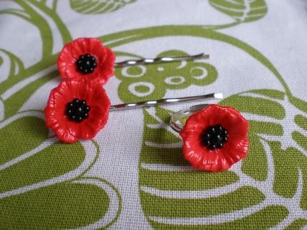 Sale sassy red poppy flower ring and bobby pins set flickr sale sassy red poppy flower ring and bobby pins set by danacastle mightylinksfo