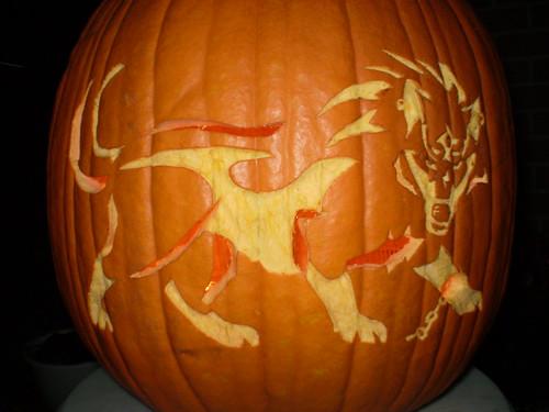 Wolf link pumpkin carving design