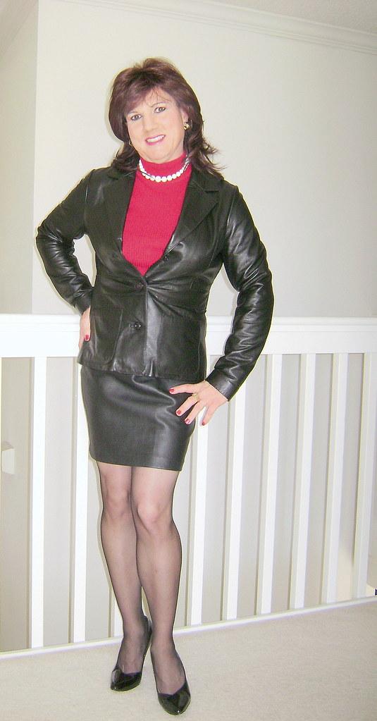Black leather skirt and jacket | Jackie Darling | Flickr