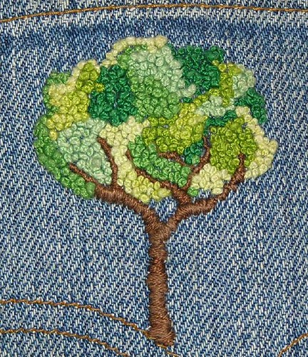 French Knot Tree on Denim | by Loves2Stitch2