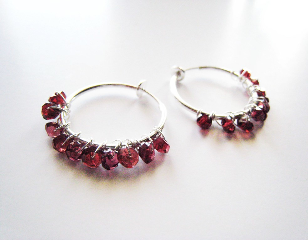 Garnet Hoop Earrings For Unpierced Ears These Unique Hoop Flickr
