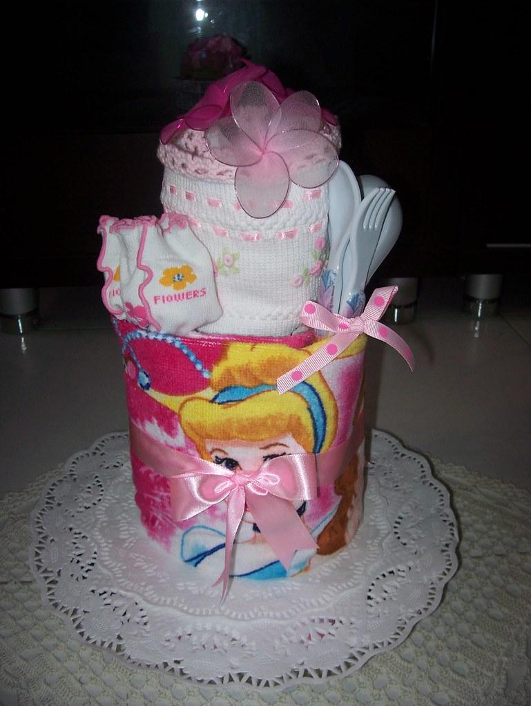 Petit Princess Birthday Towel Cake Two Tiers Birthday Cake Flickr